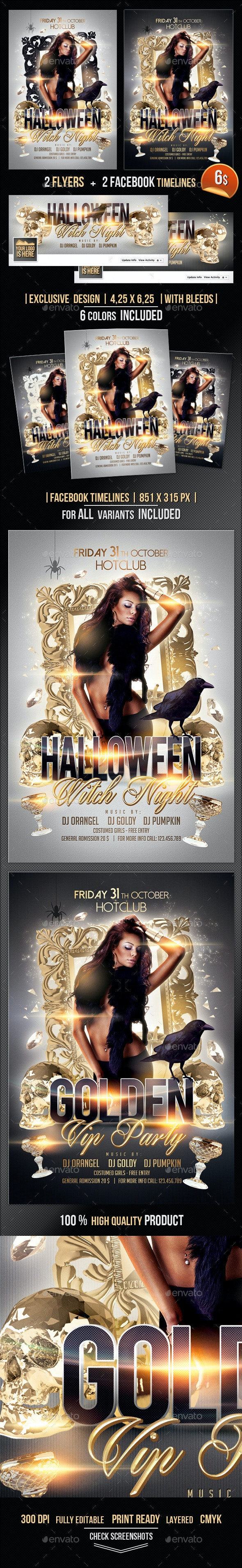 Halloween Witch Night Flyer + Fb Timeline - Clubs & Parties Events