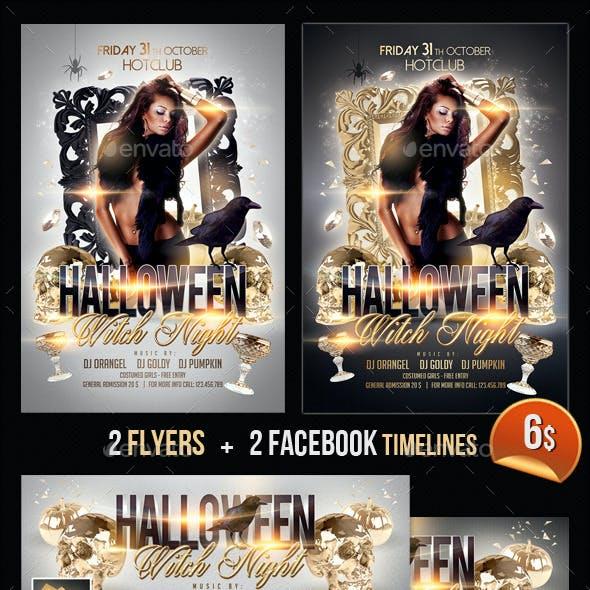 Halloween Witch Night Flyer + Fb Timeline