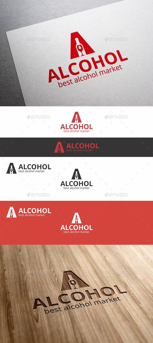 Alcohol Market A Letter Logo
