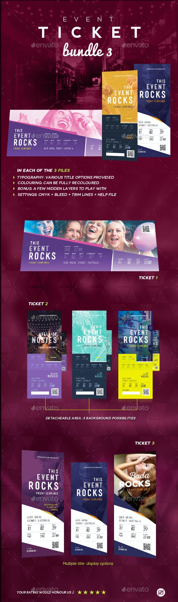 Event Tickets Bundle 3 - Miscellaneous Print Templates
