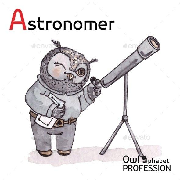 Alphabet Professions Owl Letter A