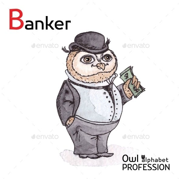 Alphabet Professions Owl Letter B