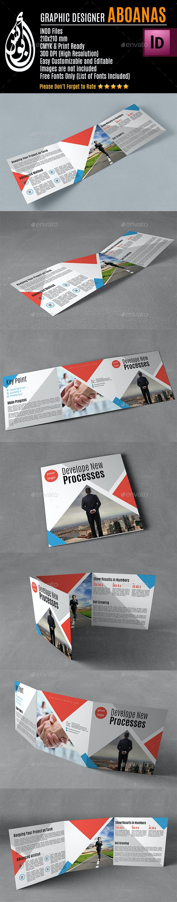 Tri-fold Square Brochure Template AA003 - Print Templates