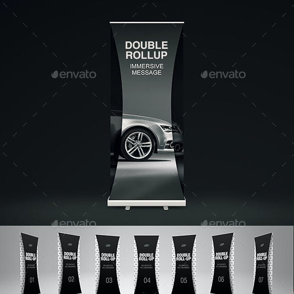 Dual Roll Up Stand Banner Mock-Up