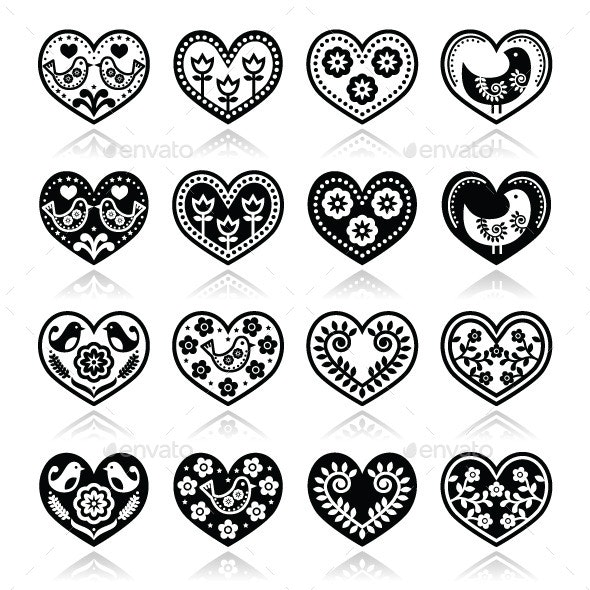 Folk Hearts with Flowers and Birds Icons Set - Patterns Decorative