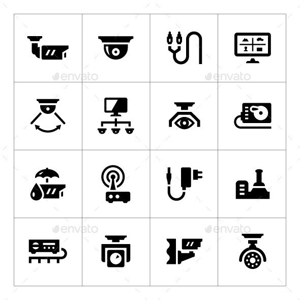 Set Icons of Video Surveillance - Technology Icons