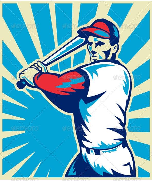 Baseball Player With Bat Batting Retro Style - Sports/Activity Conceptual