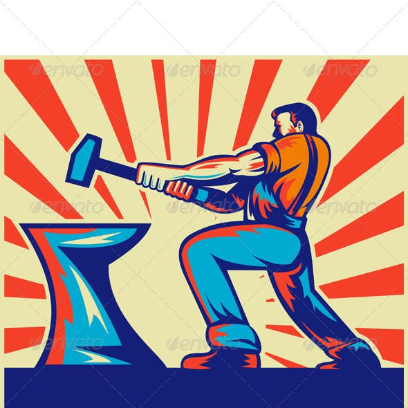 Blacksmith Holding Hammer with Anvil