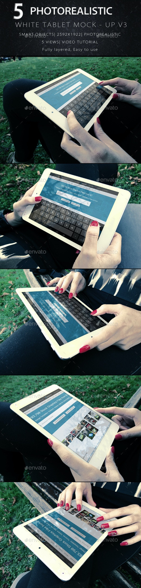 Photorealistic Tablet With Female Hands Mock-Up V3 - Product Mock-Ups Graphics
