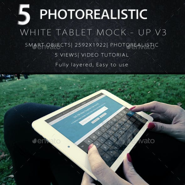 Photorealistic Tablet With Female Hands Mock-Up V3
