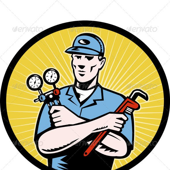 Service Technician With AC  Manifold Gage Wrench