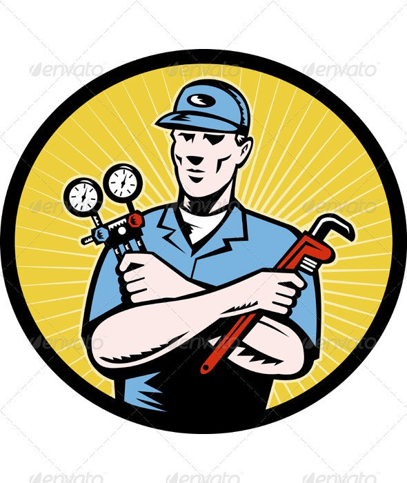Service Technician With AC  Manifold Gage Wrench - People Characters