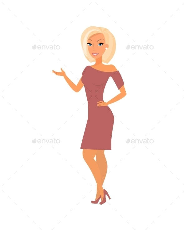 Blonde Woman Wearing Dress - People Characters