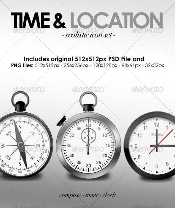 Time & Location Icon Set - Man-made objects Objects