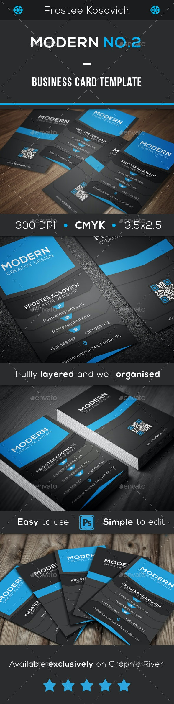 Modern Business Card Template No.2 - Creative Business Cards