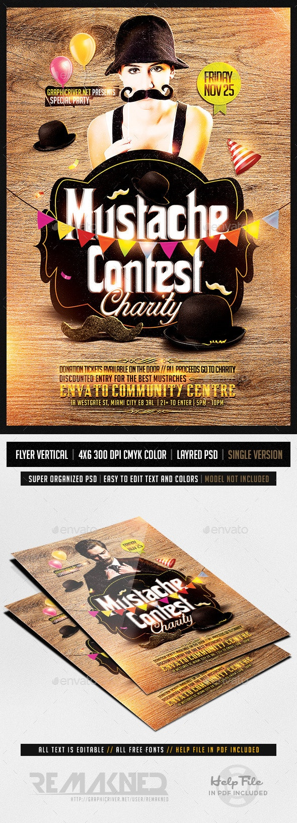 Mustache Contest Party   Flyer Template PSD - Flyers Print Templates