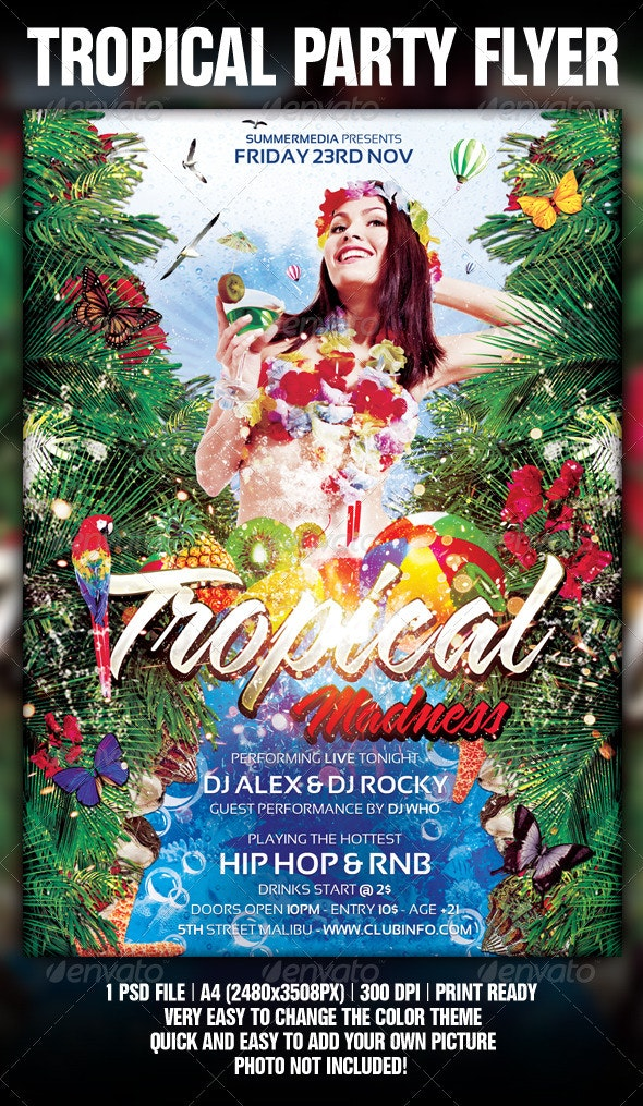 Tropical Summer Madness Party Flyer / Poster - Clubs & Parties Events