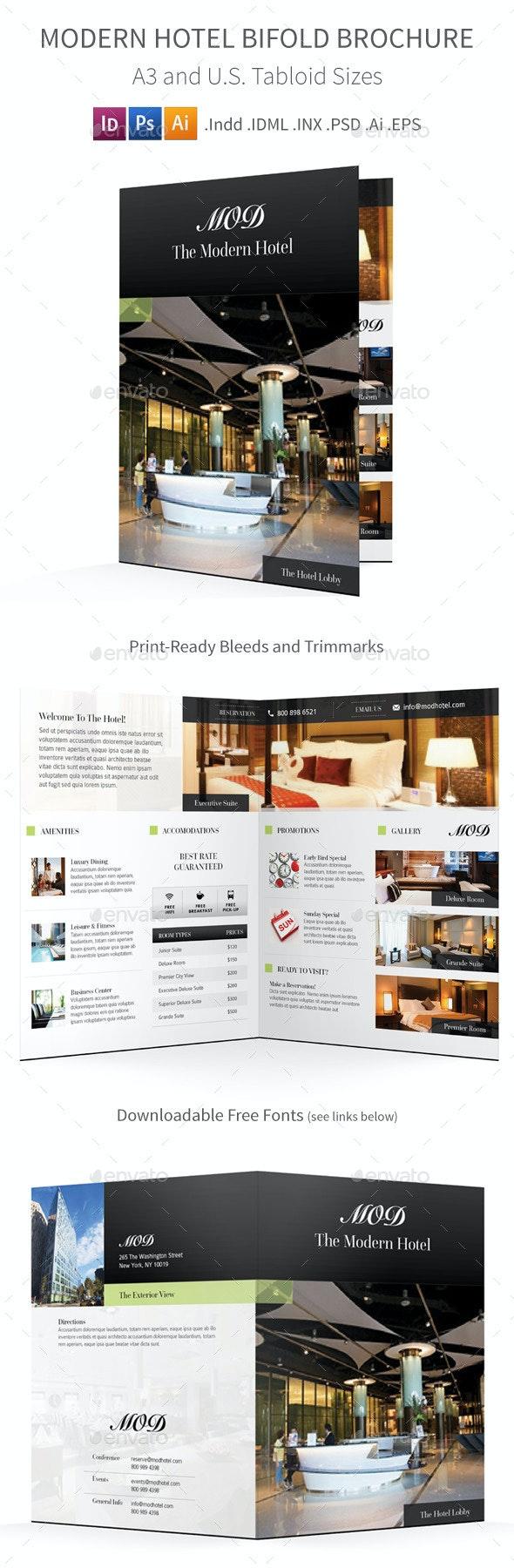 Modern Hotel Bifold / Halffold Brochure - Informational Brochures