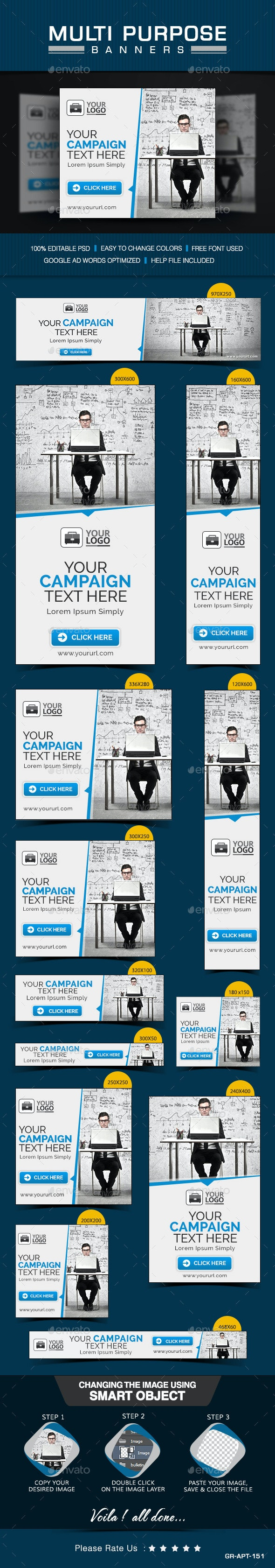 Multi Purpose Banner Set - Banners & Ads Web Elements