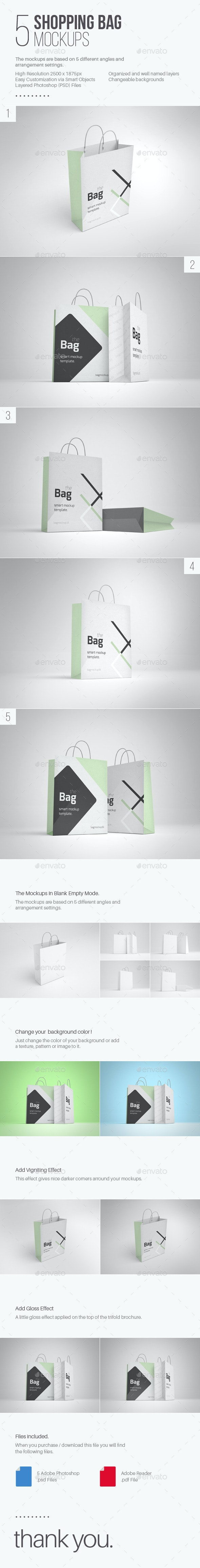 5 Shopping Bag Mockups - Miscellaneous Packaging