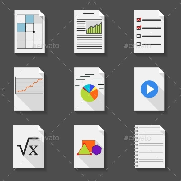Set of Icons Office Documents in a Flat Style - Media Icons