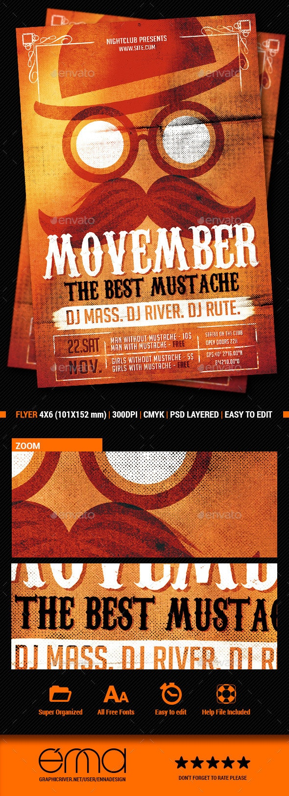 The Mustache - Events Flyers
