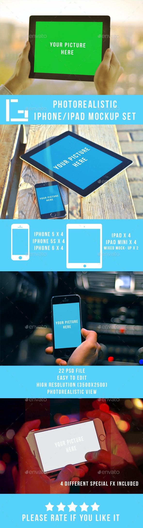 Photorealistic Iphone/Ipad Mock-up set - Multiple Displays