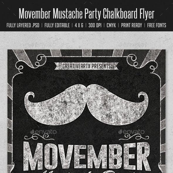Movember Mustache Party Chalkboard Flyer