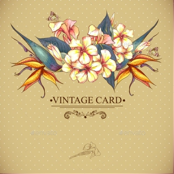 Floral Vintage Card with Exotic Flowers - Patterns Decorative