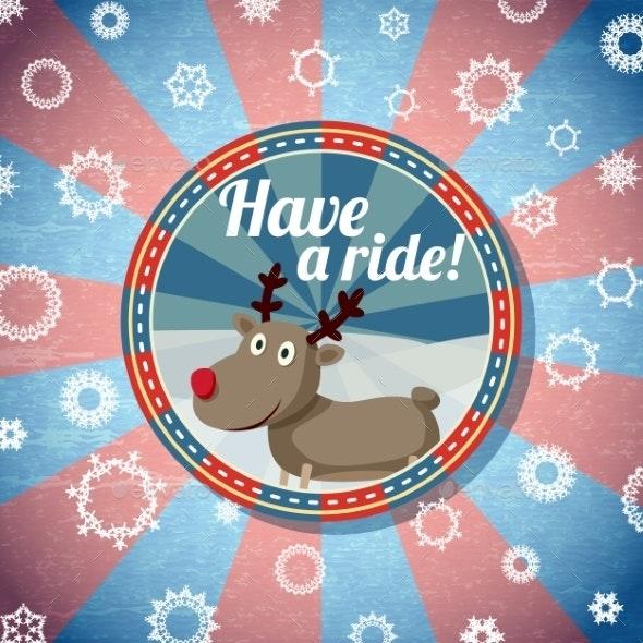 Badge with Santas Reindeer - Christmas Seasons/Holidays