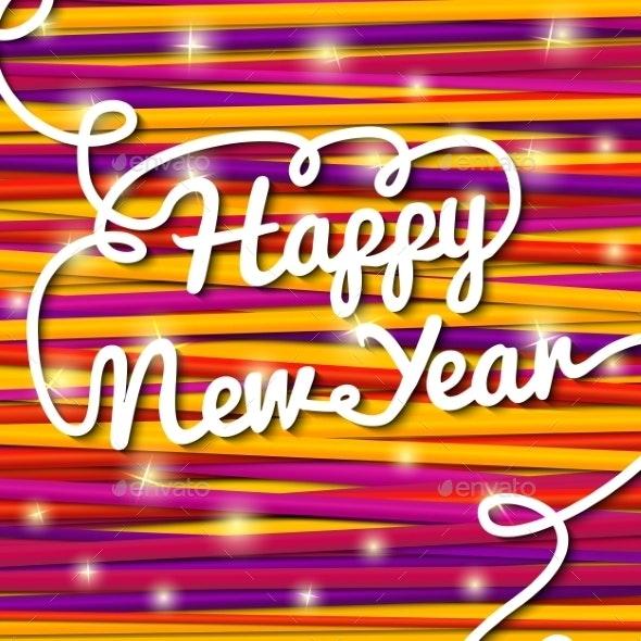 Happy New Year Handwritten Lettering - Christmas Seasons/Holidays