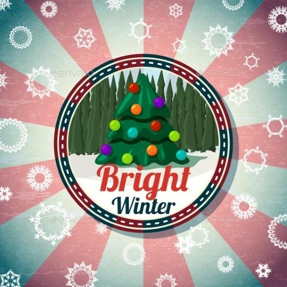 Badge with Christmas Tree - Christmas Seasons/Holidays