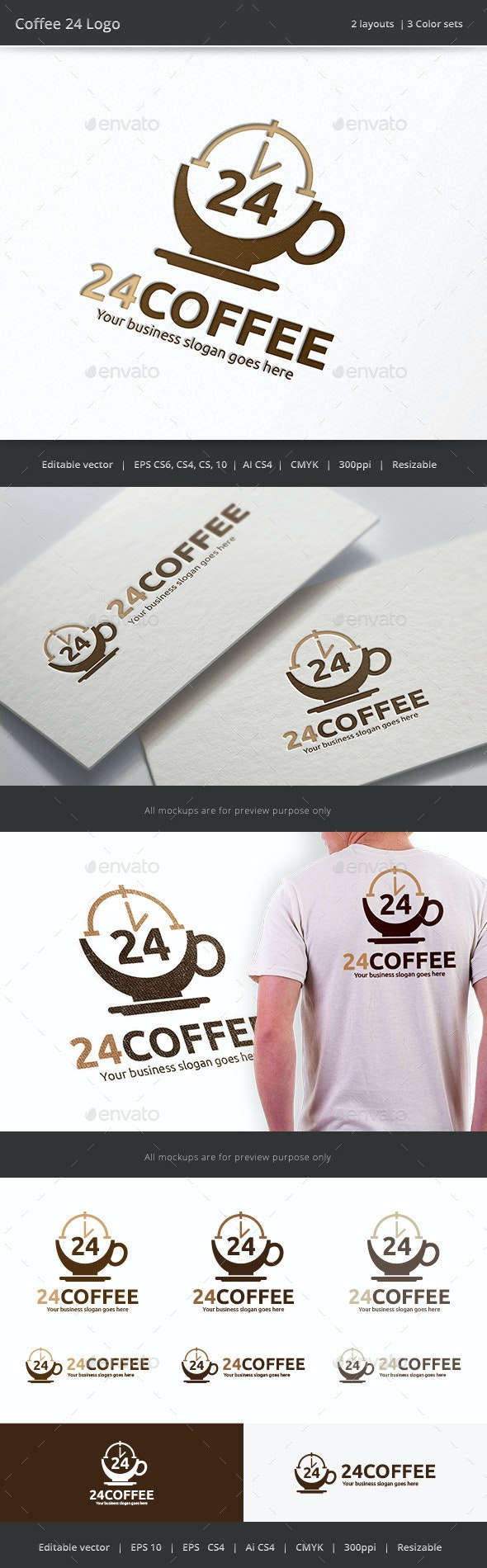 Coffee 24 Hour Logo - Objects Logo Templates