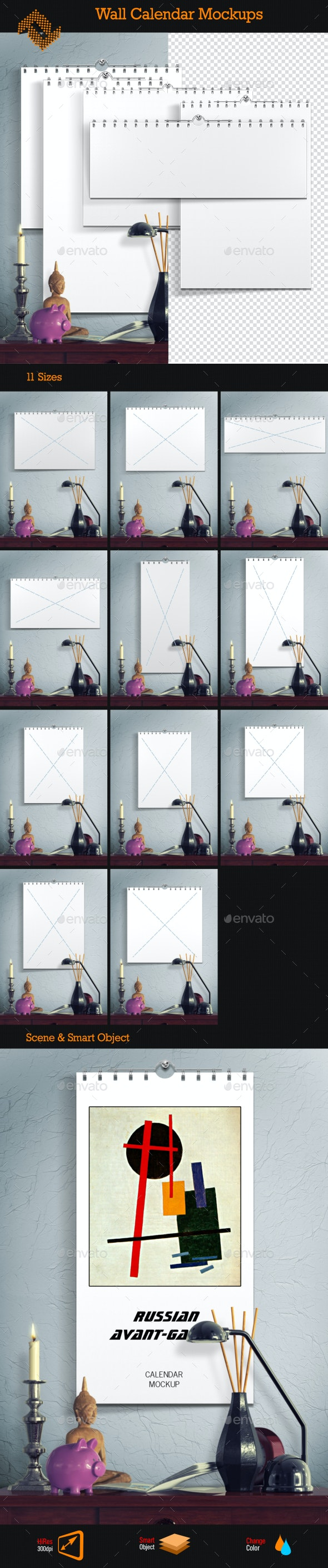 Wall Calendar Mockups - Print Product Mock-Ups