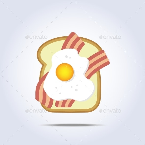 Bread Toast Icon with Bacon and Egg - Food Objects