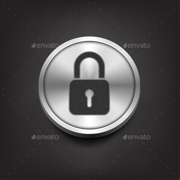 Closed Lock Icon on Silver Button - Computers Technology
