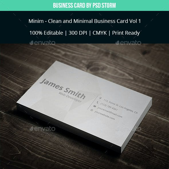 Minim - Clean and Minimal Business Card Template