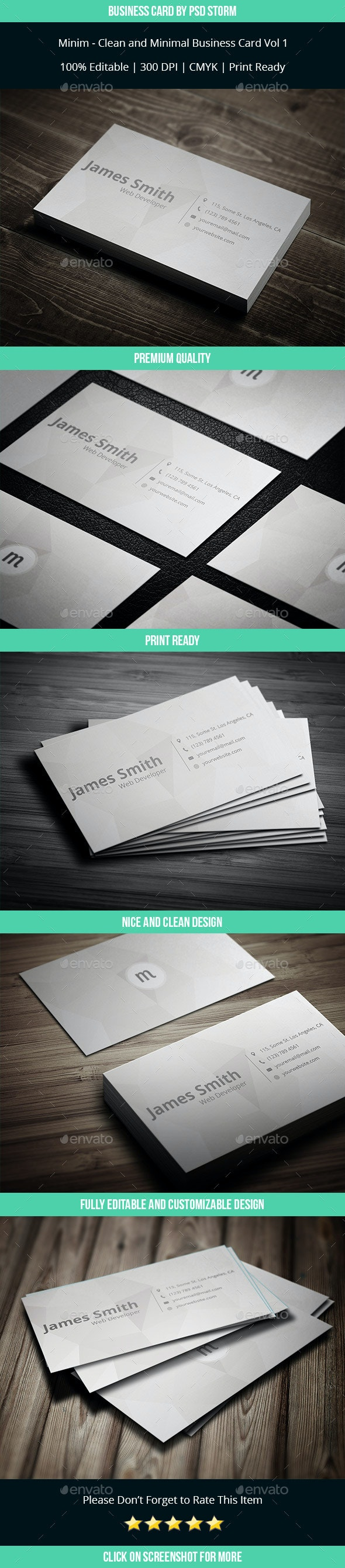 Minim - Clean and Minimal Business Card Template - Corporate Business Cards