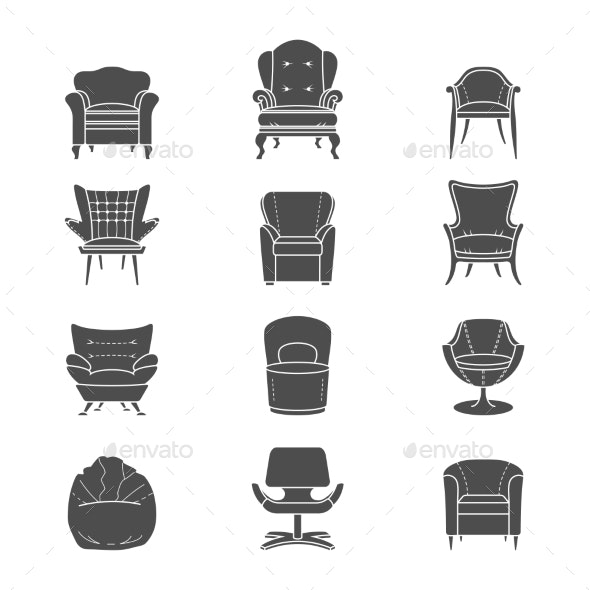 Armchair Silhouettes - Objects Vectors