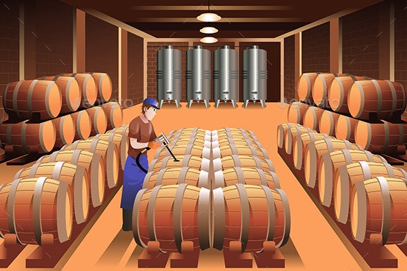 Worker in a Winery - People Characters