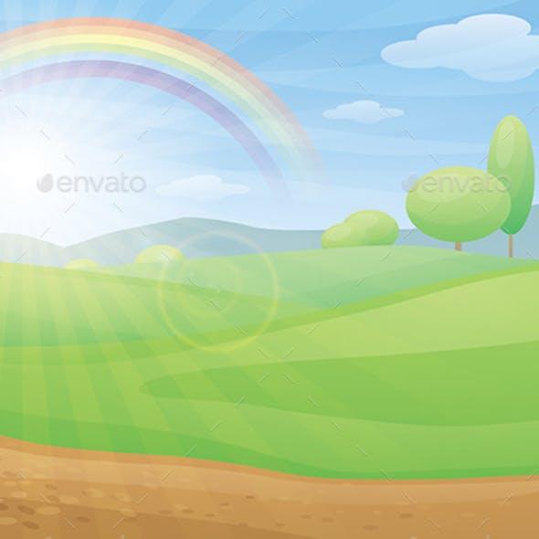 Kids Cartoon Landscape with Rainbow