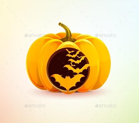 Halloween Pumpkin with Carved Bats - Halloween Seasons/Holidays