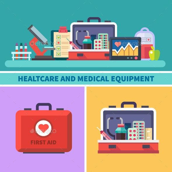 Vector Flat Healthcare and Medical Equipment - Health/Medicine Conceptual