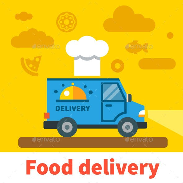 Vector Flat Food Delivery Car