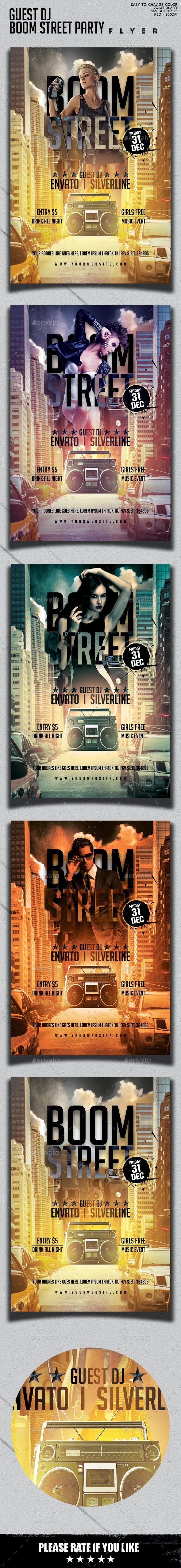 Guest Dj Boom Street Party Flyer Template - Clubs & Parties Events