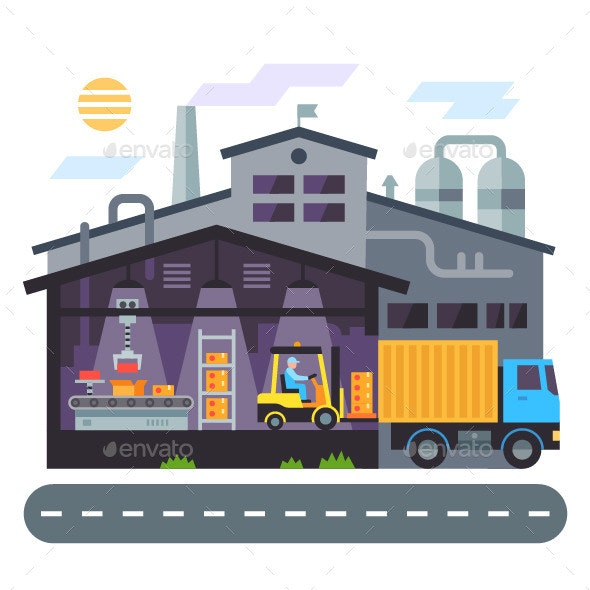 Vector Flat Warehouse Building - Buildings Objects