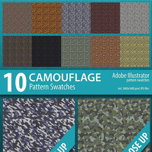 10 Camouflage Pattern Swatches
