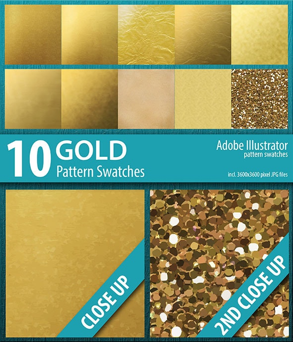 10 Gold Foil and Sparkle Pattern Swatches