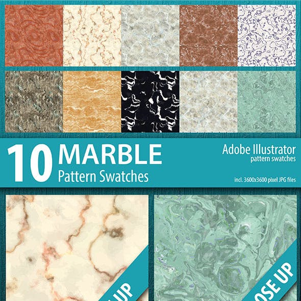 10 Marble Pattern Swatches Vector