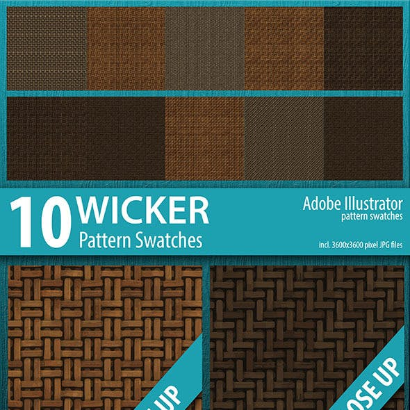 10 Wicker Pattern Swatches Vector